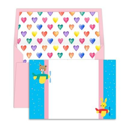 Notecards Hearts And Flying Bear - Dots & Doodles
