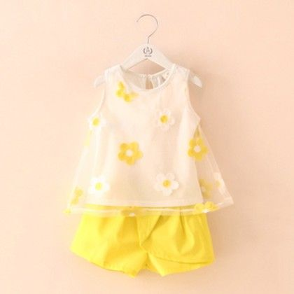 Organza Embrodery Top And Shorts Set Yellow - Mauve Collection