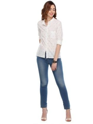 White Colored Cotton Printed Shirts - Varanga