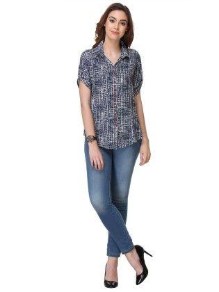 Printed Rayon Navy Blue Shirt - Varanga