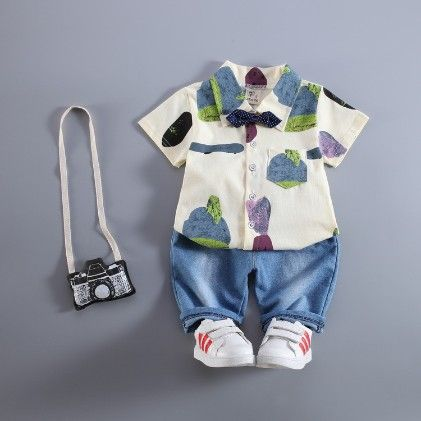 Blue Boys Cotton Shirt And Capri Set - Petite Kids
