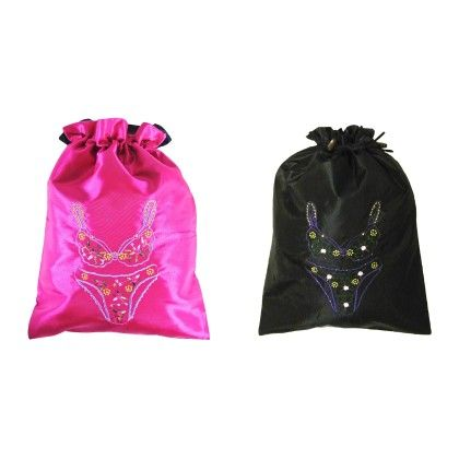 Silk Embroidered Bra & Panties-lingerie Bag Assorted 1 Unit - Wrapables