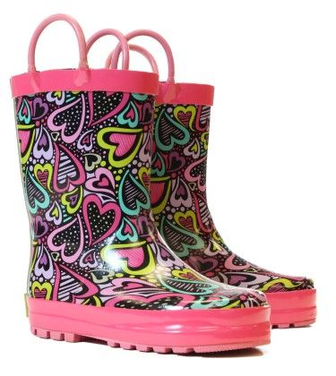 Black Swimming Hearts Rain Boots - Western Chief