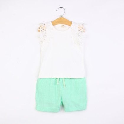 Green Floral Lace Design Top And Skirt Set - DCGN