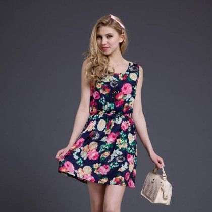Flower Printed Casual Vest Chiffon Dress Women Summer Dress - Blue - Style O Style