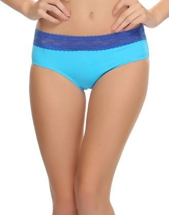 Clovia Trendy Brief In Blue With Lace