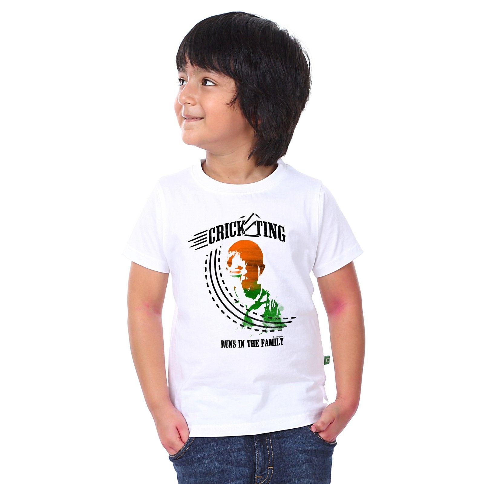 Boy's Cricketing Print White T-shirt - BonOrganik