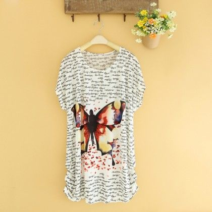 Multi Colour Butterfly Print Top - Dell's World