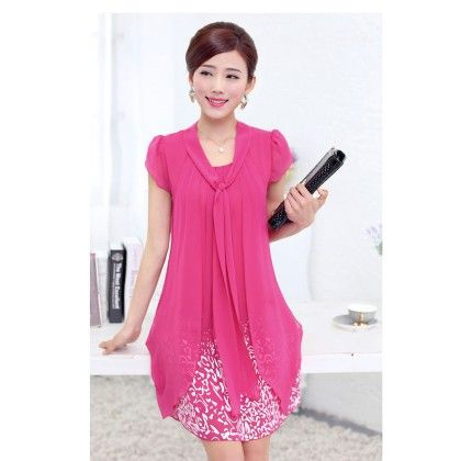 Casual Dress Ladies Female Print Floral Dresse - Pink - STUPA FASHION