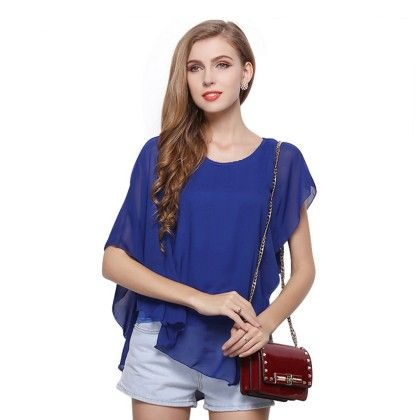 Royal Blue Batwing Flair Top - Dell's World