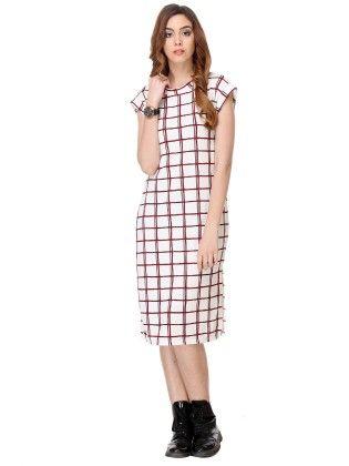 Printed Cotton White Dress - Varanga