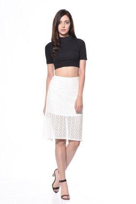 Mid-length Cotton Net Skirt - Klaede - 340086
