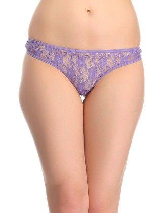 Clovia Sexy Lacy Thong In Purple