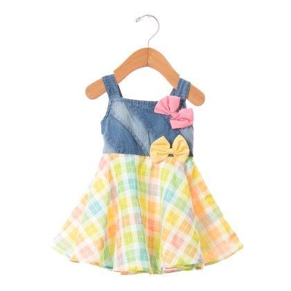 Stylish Checks Dress With Bows - Blue - O'Carina