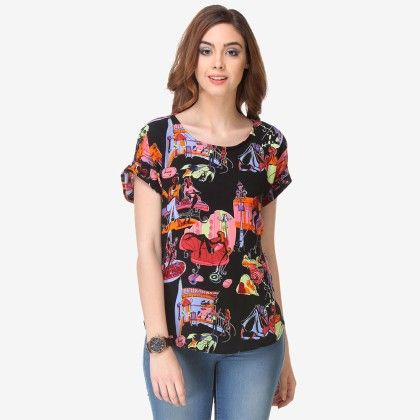 Multi Colored Crepe Printed Top - Varanga - 325722