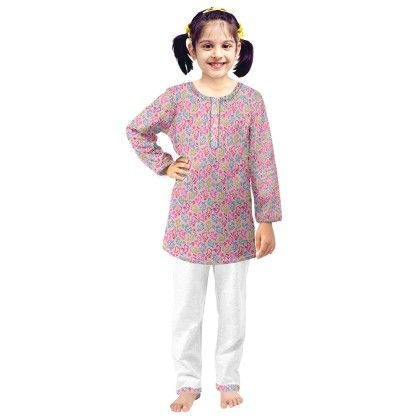 Pink Abstract Printed Kurta & Pajama Set - Oranges And Lemons