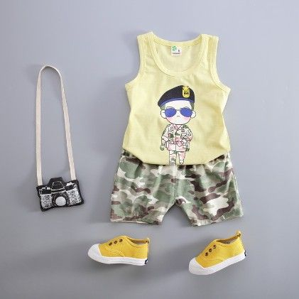 Military Boy Print Vest And Shorts Set - Yellow - Kuakuayu