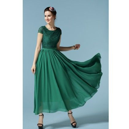 Green Colored Flared Maxi Dress - STUPA FASHION