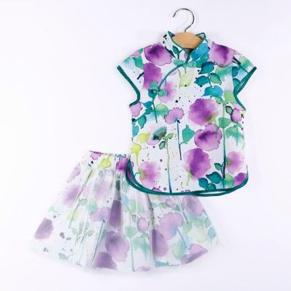 Purple Floral Accent Top And Skirt Set - H