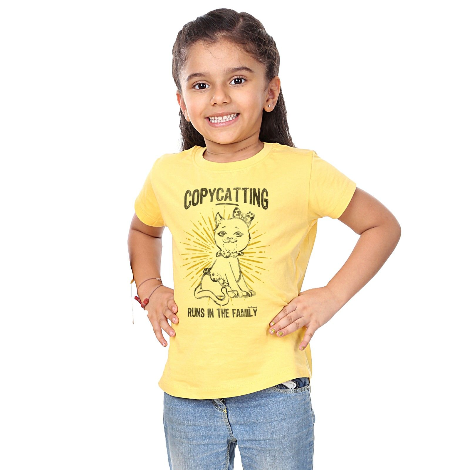 Girl's Copycatting Print Yellow T-shirt - BonOrganik