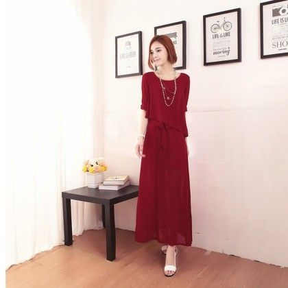 Chiffon Maxi Dress - Wine Red - STUPA FASHION