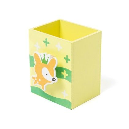 Yellow Wooden Pen Stand - Sale Zone