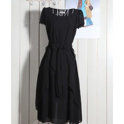 Black U-neck Multi-layered Sashes Dress - Dell's World