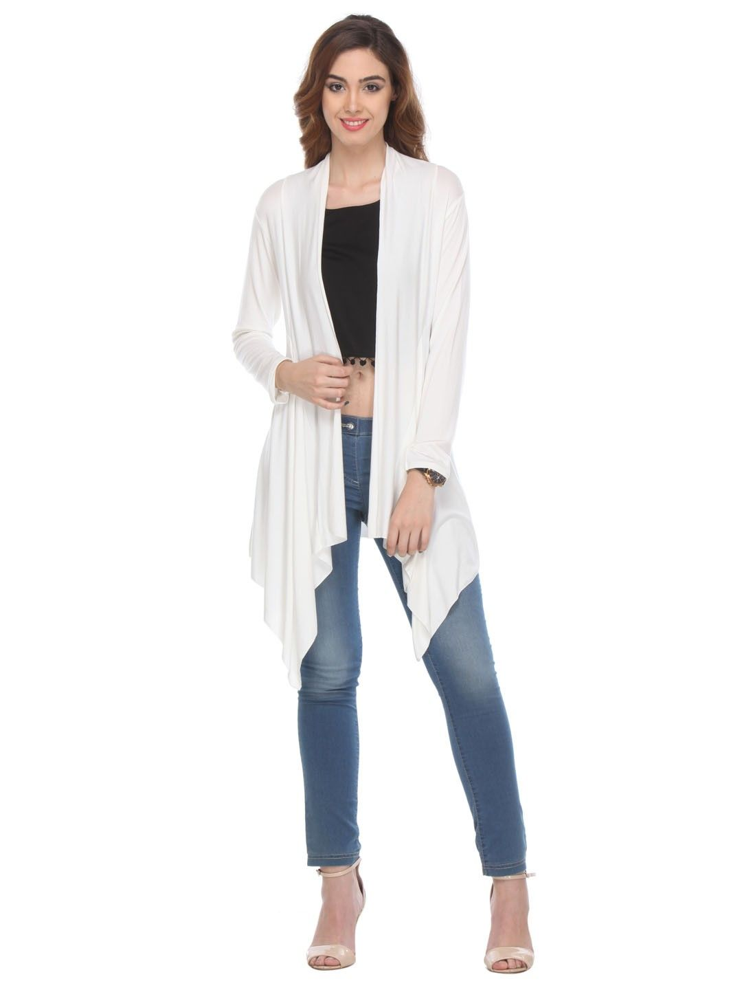 Solid Cotton White Shrug - Varanga