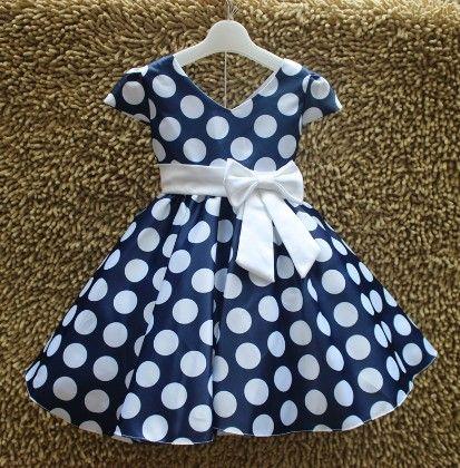 Blue Polka Dotted Party Dress - MeiQ