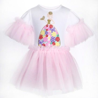 Cute White And Pink Girl Print Frilled Dress - Isabella By Princess