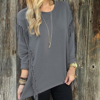 Casual Tassel Gray Color Top - STUPA FASHION