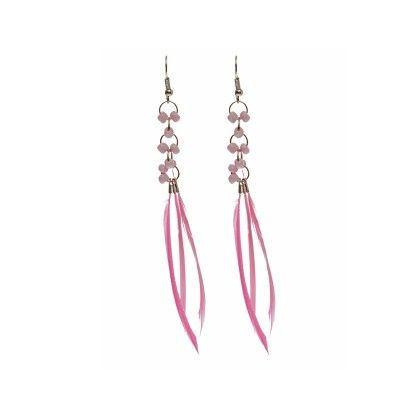 Light Pink Colored Feathers And Beads Earring - Eternz