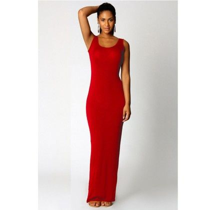 Round Neck Ladies Long Maxi Dress - Red - STUPA FASHION