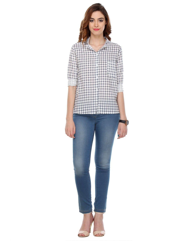Printed Cotton White Shirts - Varanga