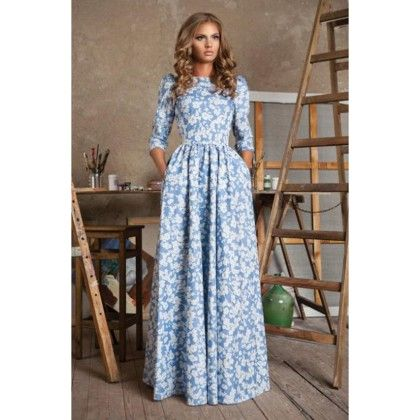 Designer Floral Print Gown - Dell's World