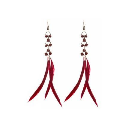 Dark Pink Colored Feathers And Beads Earring - Eternz