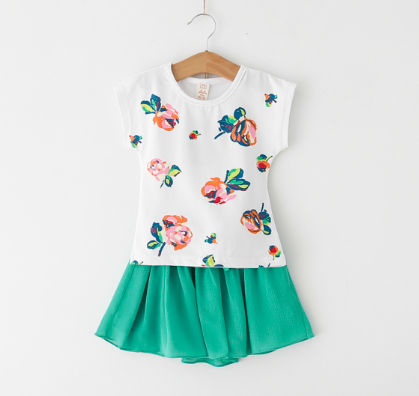Cute Printed Top And Skirt Set - Green - XFZ