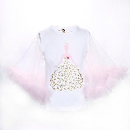 Cute White And Pink Princess Print Frilled Sleeves Top - Isabella By Princess