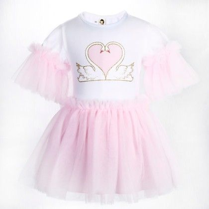 Cute White And Pink Heart Print Frilled Dress - Isabella By Princess