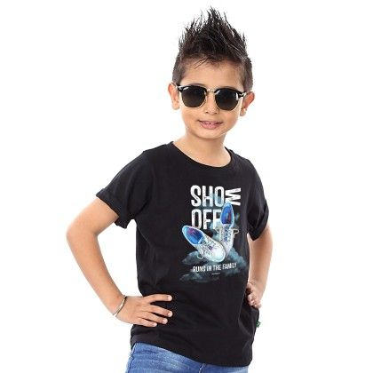 Boy's Show Off Print Black T-shirt - BonOrganik