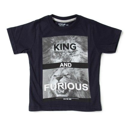 King And Furious Print Navy T-shirt - Do Re Me