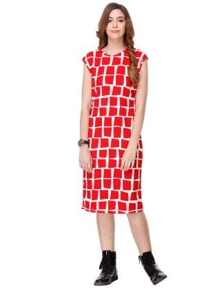 Printed Cotton Red Dress - Varanga