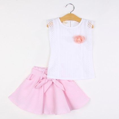 Beautiful Flower Applique Top And Skirt Set - Pink - Pink Whale