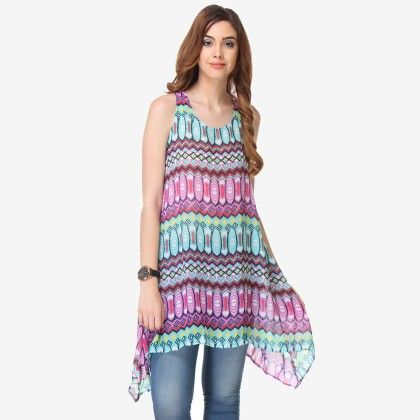Multi Colored Chiffon Printed Tunic - Varanga - 325745