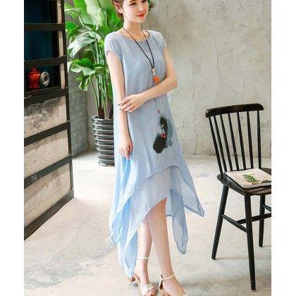 Blue Linen Short Sleeve Dress - Dell's World