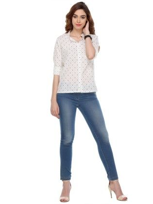White Printed Cotton Shirts - Varanga