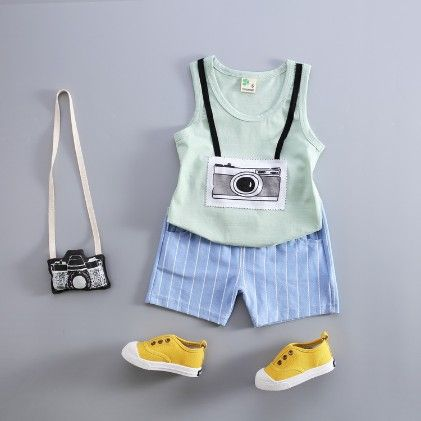 Camera Print Vest And Shorts Set - Green - Kuakuayu
