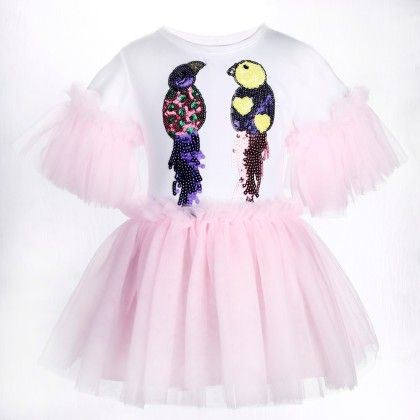 Cute White And Pink Bird Print Frilled Dress - Isabella By Princess