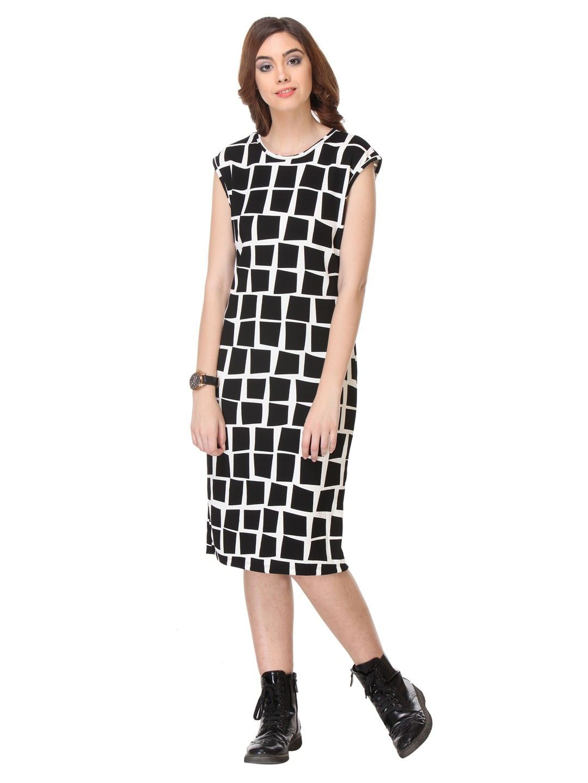 Printed Cotton Black Dress - Varanga