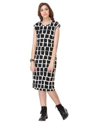 Printed Cotton Black Dress - Varanga